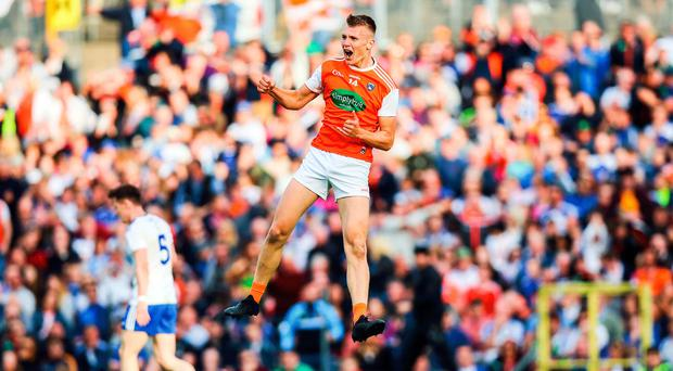 Huge talent: Armagh's Rian O'Neill scores one of his two goals against Monaghan