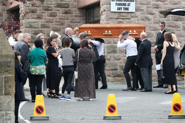 Hundreds of mourners gathered for Paul Smyth's funeral at St Patrick's Church in Chapel Hill on Saturday
