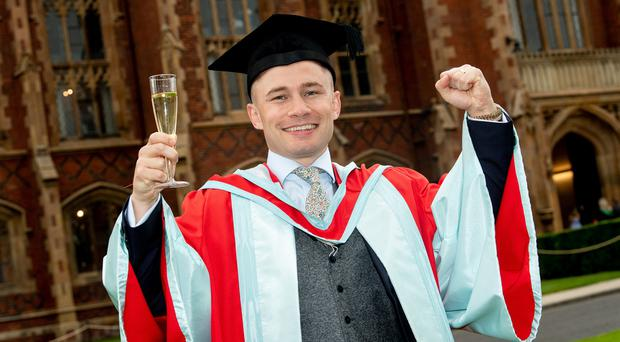 Belfast-born boxer Carl Frampton MBE received his Doctor of the University (DUni) for distinction in sport. Credit: Andrew Towe/Parkway Photography