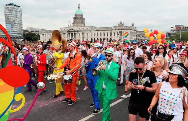 People take part in the Pride parade in Dublin. PRESS ASSOCIATION Photo. Picture date: Saturday June 29, 2019. See PA story IRISH Pride. Photo credit should read: Brian Lawless/PA Wire