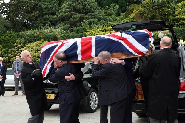 The funeral of victims' rights campaigner Willie Frazer at Fivemilehill, Pentecostal Church, Bessbrook. July 2019