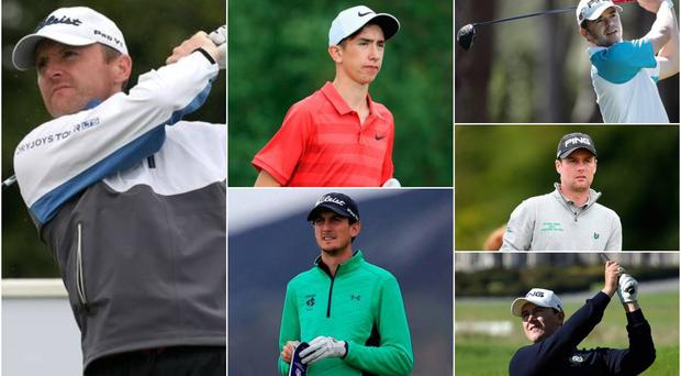 Clockwise from left: Michael Hoey, Tom McKibbin, Gareth Shaw, Jonathan Caldwell, Colm Campbell and Tiarnan McClarnon are all bidding to secure a place at the Open Championship.