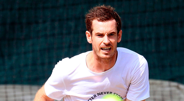 Gearing up: Andy Murray during a practice session
