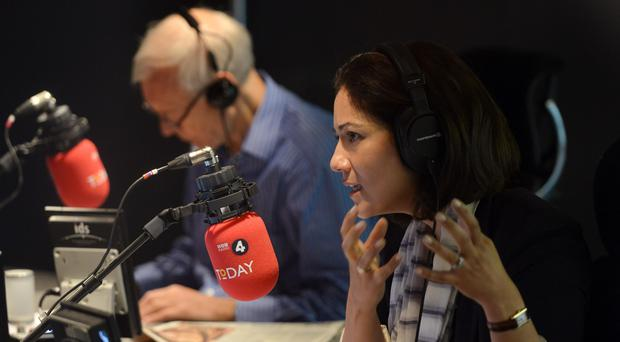 Mishal Husain, with co-presenter John Humphrys, in the BBC Radio 4 studio (Jeff Overs/PA)