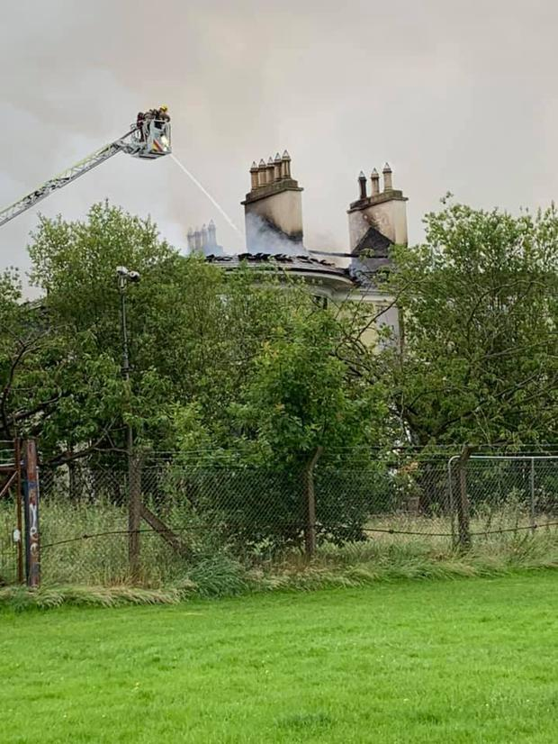 The fire at Steeple House in Antrim. Credit: Neil Kelly