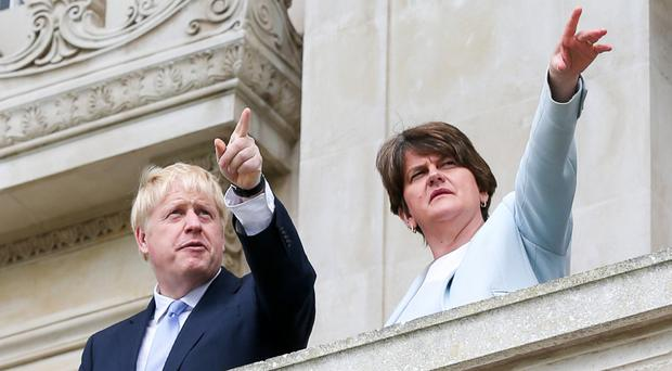 Conservative Party leadership candidate Boris Johnson is pictured alongside Democratic Unionist Party (DUP) leader Arlene Foster at Parliament Buildings on the Stormont Estate in East Belfast. Pic Matt Mackey Presseye