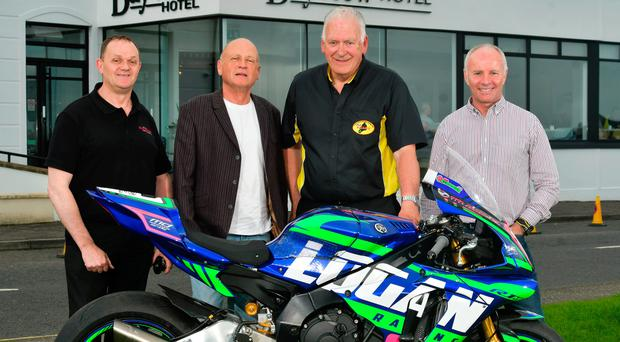 Support: (from left) road racing legend Phillip McCallen, new Armoy Road Races sponsor John Massey, clerk of the course Bill Kennedy MBE and competitor Ian Lougher