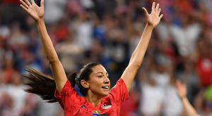 United States' forward Christen Press celebrates after scoring against England in the World Cup semi-final.