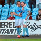 All smiles: Ballymena United's Jude Winchester (right) celebrates his goal with Tony Kane in the first leg
