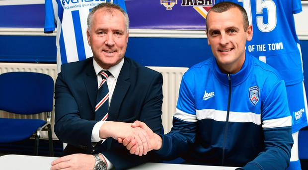 Coleraine chairman Colin McKendry welcomes manager Oran Kearney back to the club.