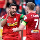 Joe Gormley celebrates his goal with Chris Curran