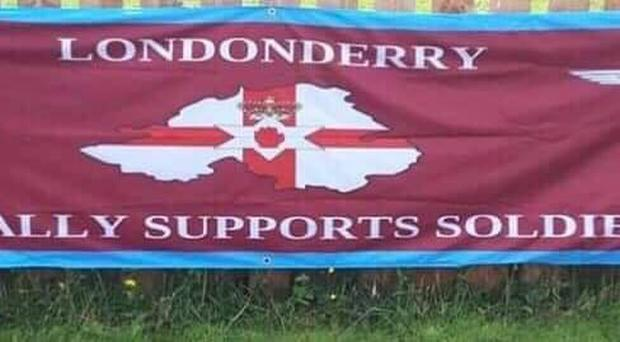 The banner beside Curryneirin in Tullyally, Co Londonderry.
