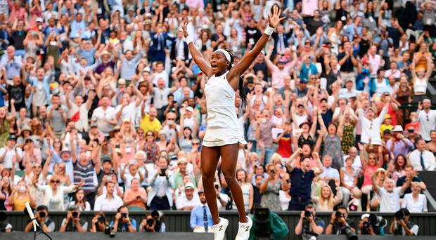 US player Cori Gauff celebrates beating Slovenia's Polona Hercog during their women's singles third round match on the fifth day of the 2019 Wimbledon Championships. (Photo by Daniel LEAL-OLIVAS / AFP)