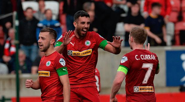 Familiar sight: Joe Gormley celebrates after netting for Reds