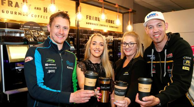 Centra stage: road racing stars Dean Harrison and Peter Hickman with Danielle Finlay and Hayley Whittaker of Whitemountain Centra, sponsors of the opening Superpsort race at the 2019 fonaCAB Ulster Grand Prix