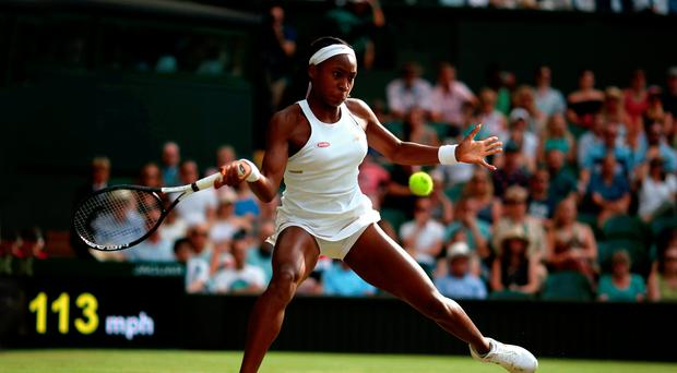 Star is born: Cori Gauff (15) on way to a thrilling victory over Polona Hercog on Centre Court last night