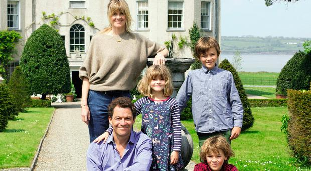 Catherine FitzGerald and husband Dominic West with their children, Dora, Senan, Francis and Christabel outside Glin Castle