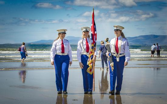 Hannah Harvey , Lauren Cranston and Joanne Cranston as the annual Rossnowlagh Orange Order parade takes place in Co. Donegal on July 6th 2019 (Photo by Kevin Scott / INM)
