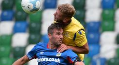 Linfield's Andy Waterworth played 45 minutes against St Johnstone on Saturday. Photo Colm Lenaghan/ Pacemaker Press