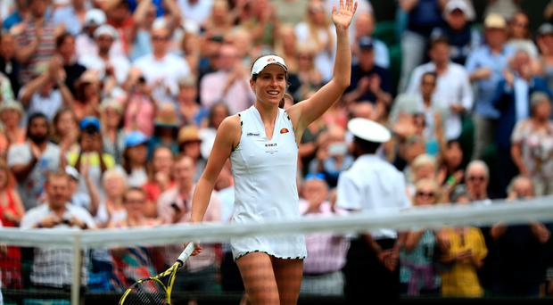 Johanna Konta following victory over Petra Kvitova. Credit: Adam Davy/PA Wire