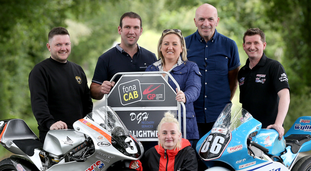 Light work: Ultra Lightweight riders Melissa Kennedy, Gary Dunlop and Christian Elkin with David and Gillian Hanna of DGH Recovery Services and UGP Clerk of the Course, Noel Johnston on the Ulster Grand Prix's Dundrod circuit