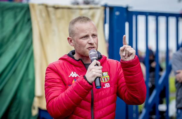 Jamie Bryson as a protest is held at the Avoniel bonfire in east Belfast on July 9th 2019 (Photo by Kevin Scott for Belfast Telegraph)