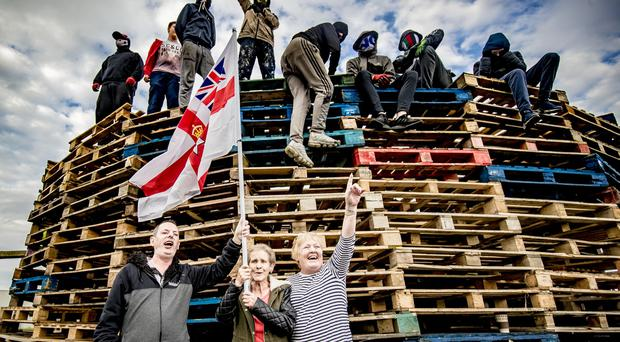 A protest is held at the Avoniel bonfire in east Belfast on July 9th 2019 (Photo by Kevin Scott for Belfast Telegraph)