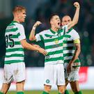 Get in: Mikey Johnston enjoys the moment after equalising for Celtic