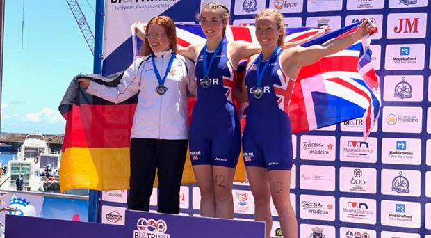 Belfast triathle athlete Suzie Cave (right) after finishing third in the European Championships