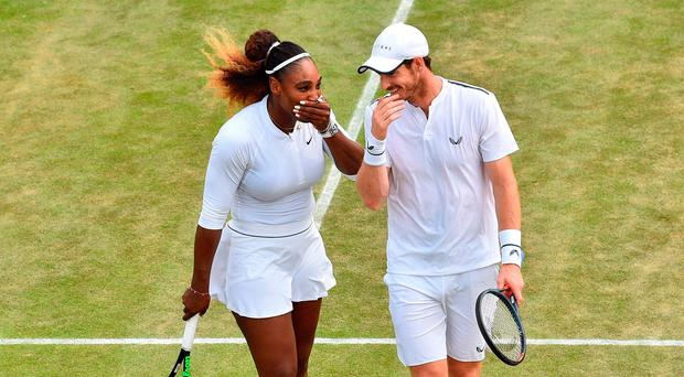 All smiles: Serena Williams and Andy Murray on court