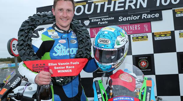 Dean Harrison (1000 Silicone Engineering Kawasaki), winner of the Southern 100 Ellan Vannin Fuels Senior Race.
