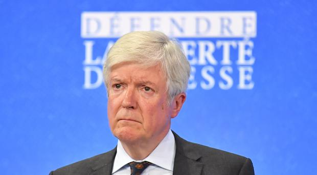 Lord Tony Hall, during the Global Conference for Media Freedom at The Printworks in London. (Dominic Lipinski/PA)