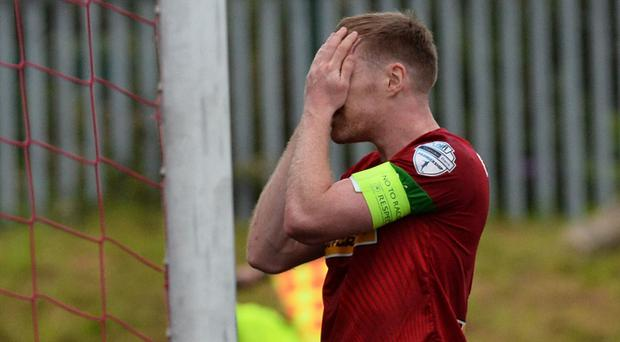 Cliftonville's Chris Curran was one of the players who had a near miss at Solitude. Photo Colm Lenaghan/Pacemaker Press