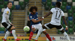 Good impression: Bastien Hery wows the Linfield fans during his debut against Rosenborg in the Champions League