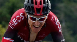 On track: Geraint Thomas during his impressive stage