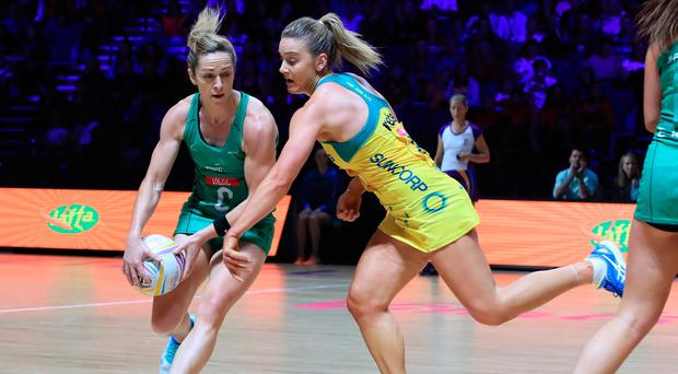 Northern Ireland captain Caroline O'Hanlon had to leave the court with a head injury.