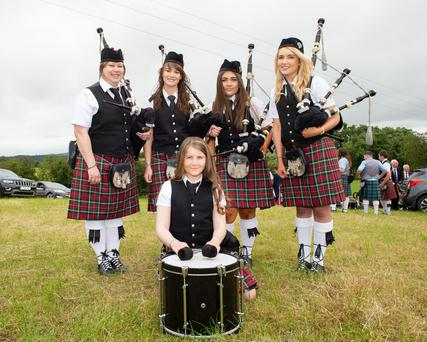 Megan Withers (front) with Lisa Kyle, Kathryn Wilson, Emily Comac and Sarah Fannin, from Fardross Pipe Band, Clogher, during the 12th July demonstrations taking place in Augher, on 12 July 2019. Picture by Trevor Lucy for Belfast Telegraph.