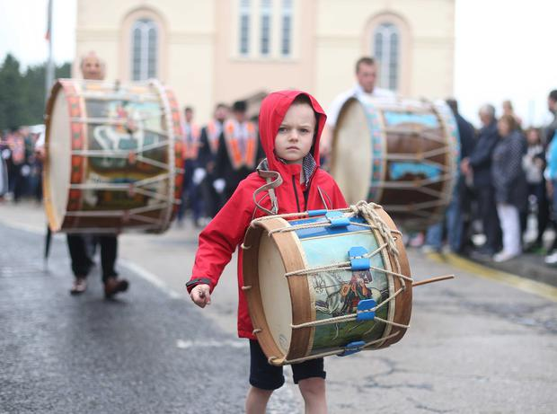 12/07/19 McAuley Multimedia AHOGHILL.. A young lambeg drummer steps out at the Twelfth celebrations in Ahoghill. Pic Steven McAuley/McAuley Multimedia