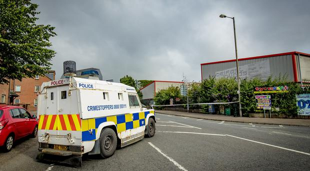 Police and ATO at the scene of a security alert on the Springfield road on July 12th 2019 (Photo by Kevin Scott for Belfast Telegraph)