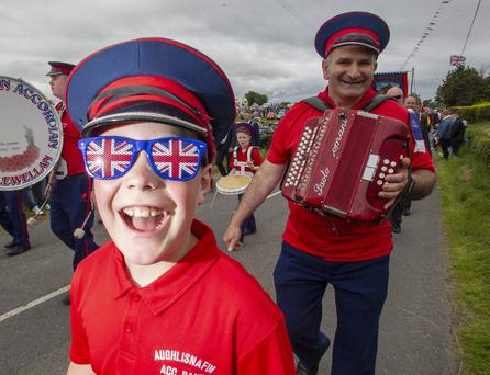 © NewRayPics.com 12 Jul 2019 Northern Ireland - Joe McClenaghan from the Aughlisafin Accordian Band from Castlewellan Crossgar will host the annual mid Down 12th July demonstration for the first time since 2003. picture Newraypics.com