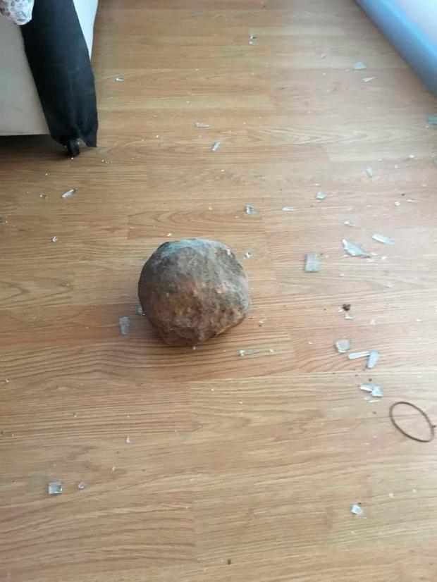 The boulder in the couple's house