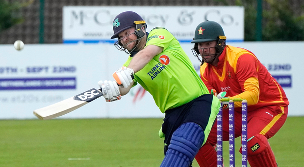 Big hitter: Ireland's Paul Stirling smashes one of his 13 boundaries in his superb 83 for Ireland against Zimbabwe at Bready
