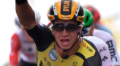 Nice one: Dylan Groenewegen after stage triumph