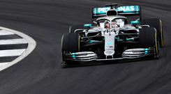 Out in front: Lewis Hamilton was the fastest driver during practice at Silverstone