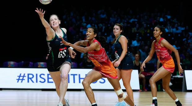 Northern Ireland's Noleen Armstrong (left) and Sri Lanka's Gayana Dissanayake battle for the ball during the Netball World Cup match at the M&S Bank Arena, Liverpool. Pic: Nigel French/PA Wire.