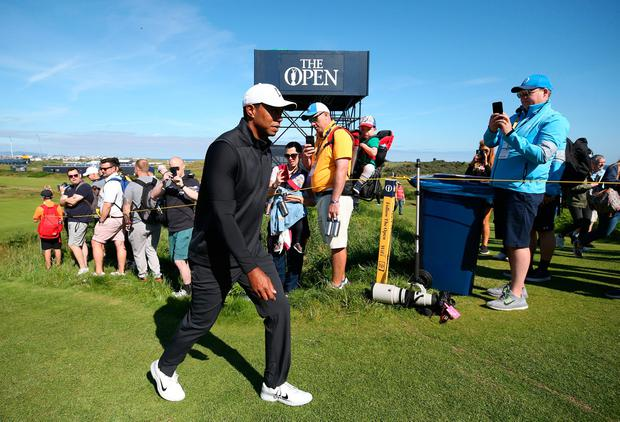 Watch: Tiger Woods tees-off at The Open Portrush practice
