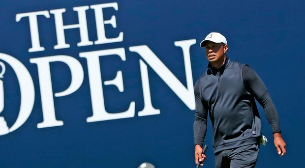 Tiger Woods on the 18th green during preview day one of The Open Championship 2019 at Royal Portrush Golf Club. Pic: Niall Carson/PA Wire. TheOpen.com