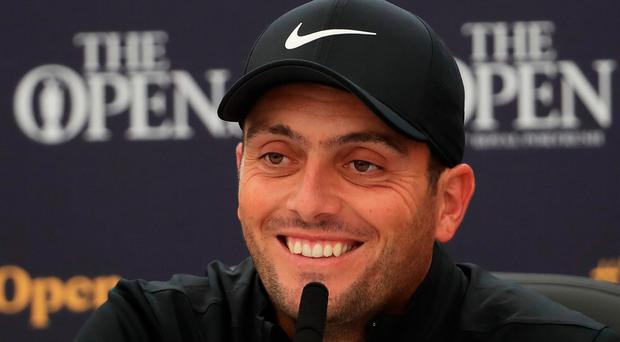 Francesco Molinari speaks to the media ahead of his title defence at the 148th Open Championship held at Royal Portrush Golf Club (Andrew Redington/Getty Images)