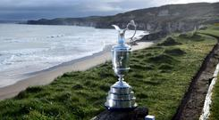 The Claret Jug is pictured at Royal Portrush Golf Club. (Photo by Charles McQuillan/Getty Images)