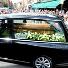 The coffin of Father Ted star Brendan Grace (Justin Farrelly/PA)